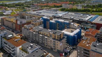 Här bygger Riksbyggen ett helt kvarter precis intill det nya shoppingcentrumet i Kungälv.
