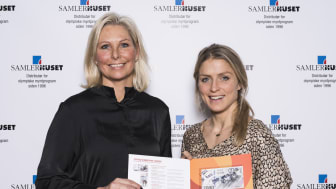 Vibece Furseth, administrerende direktør i Samlerhuset, sammen med Therese Johaug under dagens seddelsignering. Foto: Erik Gunnerud