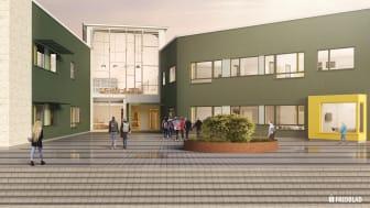 Entrén till Kärlekens skola i Halmstad. Bild: Fredblad Arkitekter