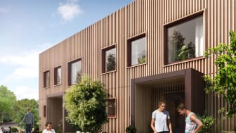 Radhuset Kvadraten med fasader i thermowood byggs i Fyllinge, Halmstad.