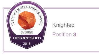 Knightec på tredje plats som Sveriges bästa arbetsgivare