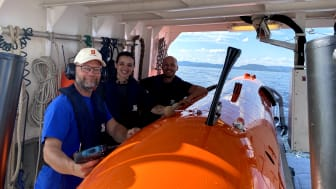 The Kongsberg Maritime team with the HUGIN AUV, a worthy 2020 AUVSI XCELLENCE third-prize winner