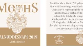 Den nye etiket til Mothsgården Valnøddesnaps 2019.