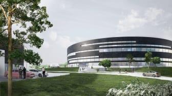 Als får endnu et markant, cirkulært erhvervsbyggeri   LINAK ekspanderer med en rund administrations- og produktionsbygning tegnet af Arkitema Architects