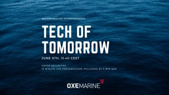 Listen in on OXE Marine present the 9th of June at Tech of tomorrow by Vator 13.40 cest