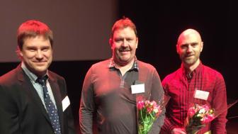 Stolta pristagare. Från vänster: Gunar Rådberg, ordförande i GRAMKO, och pristagarna Sören Eriksson, Boliden Kristineberg och Johan Holmberg, Boliden Garpenberg.