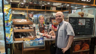 Sean Brennan, Ticket Office Supervisor, and Magda, Manager of AMT Coffee St Albans
