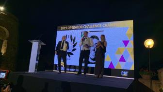 Caterpillar Operator Challenge 2019, europafinalen. Vinnaren Thomas Murphy, Irland