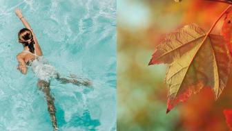 Pige der svømmmer i efteråret.
