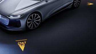 Audi A6 e-tron concept med projektorer til drejesignal