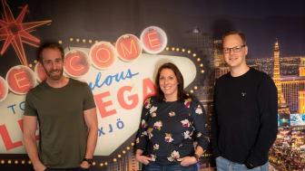 LeoVegaskollegorna på Växjökontoret, Klas Axell, Franziska Kullberg och Henrik Grankvist välkomnar till Meetup med Google.