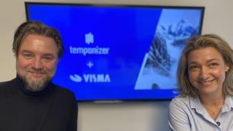 Stifter og adm. direktør Claus Alexander Rasmussen fra Temponizer på Djursland og adm. direktør Monika Juul Henriksen fra Visma Enterprise i Ballerup ser frem til at udveksle kompetencer og viden til fortsat at levere innovative HRM-løsninger.