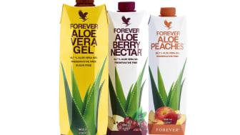 Med ny, miljøvenlig emballage og en ny, forbedret opskrift er vores elskede Aloe vera-drikke blevet endnu bedre. Den nye opskrift gør smagen endnu bedre, og drikkene har de fået en sund tilsætning af C-vitamin.