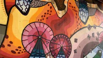 Konstverket Mantis av konstnären Daniel Zalewski.  Ett konstverk som omnämns i appen Upptäck konsten. Foto: Rebecka Walan.