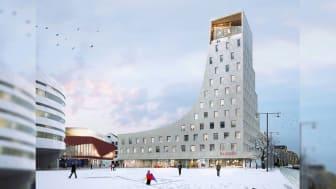 Nya Scandic Kiruna med sina 231 rum och Sveriges nordligaste skybar, med utsikt mot Kebnekaise och den lappländska fjällvärlden, öppnar den 5 april, 2022.