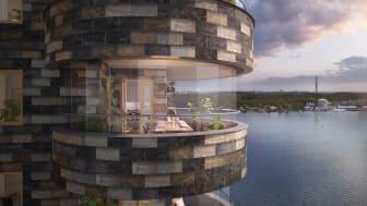 Fyrtornet Lidingö, skiffer Otta Rost på balkong