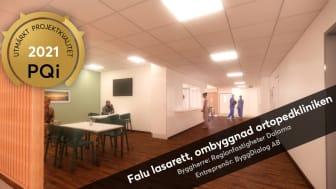 """Projekt Falu lasarett, Ombyggnad ortopedkliniken, har tilldelats kvalitetsutmärkelsen """"PQi – Utmärkt Projektkvalitet"""". Planering och engagemang ses som de viktigaste framgångsfaktorerna."""