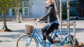 Jessica Barkman är an av våra medarbetare på Wihlborgs som använder cykeln flitigt i tjänsten för att ta sig till och från sina jobbresor inom Malmö