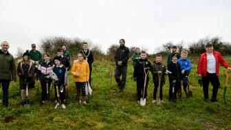 Pictured is the Mayor of Mid and East Antrim Borough Council, Councillor, Peter Johnston with Michael Topping from the Woodland Trust with Parks team, teacher John O'Kane and pupils from Silverstream Primary School.