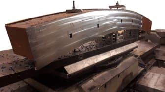 Palletsram med mycket spånor och stora skärdjup under bearbetning på Jernbro (bild Jernbro)
