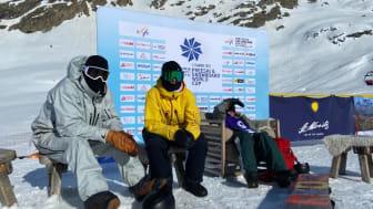 Niklas Mattsson, William Mathisen och Sven Thorgren efter världscupfinalen i Silvaplana, Schweiz. Foto: Jocke Hammar/SSF