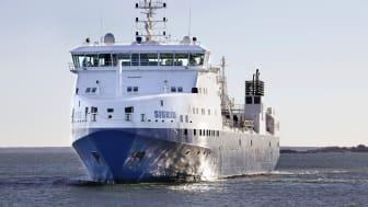 SKB:s transportfartyg m/s Sigrid lägger till i Visby under Almedalsveckan. Foto: Lasse Modin