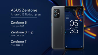 Zenfone 8 series users can enjoy the latest Android 12 upgrade by December, with the ROG Phone series and Zenfone 7 series following during the first half of 2022