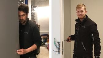 Daniel Westberg och Marcus Altsund, låslärlingar på Avarn Security i Göteborg.