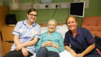Nicolle Kennelly and Joanne Bradley  (Ward Sister) with patient, Sheila Marchant.