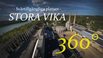 Stora Vikas cementfabrik filmad med 360-gradersteknik och drönare. Foto: Stockholms läns museum.