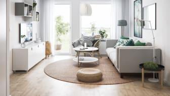 Illustration av interiör, lägenhet från BoKlok. OBS! Bilden är en illustration och avvikelser kan förekomma i slutgiltig byggnation.