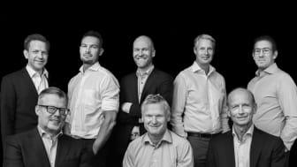 Team Nordic Cross Asset Management AB. På bilden överst från vänster, Emil Nordström, Fredrik Tauson, Joakim Stenberg Mikael Hanell och Sebastian Udden. Sittandes från vänster, Magnus Nilsson, Ulf Strömsten och Mats Andersson