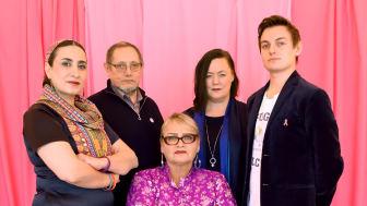Feministiskt initiativs EU-kandidater Toktam Jahangiry, Jaime Gomez, Stina Svensson, Joakim Månsson Bengtsson och Soraya Post.