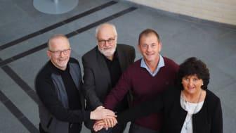Etablerer felles mastergrad i helseledelse. F.v. dosent Arne Orvik (NTNU), professor Jan Inge Sørbø (HVO), førsteamanuensis Ralf Kirchhoff (NTNU) og dekan Heidi Haavardsen (HiMolde).