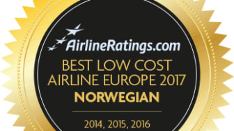 ​Norwegian named Europe's Best Low Cost Airline for fourth consecutive year at industry awards