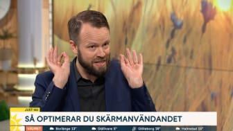 Mattias bjöd på tips från sin nya bok Skärmsmart i TV4 Nyhetsmorgon