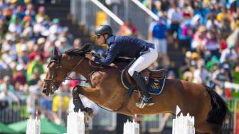 Peder Fredricson och All In tog individuellt silver i hoppning vid OS i Rio 2016. Nu satsar Peder Fredricson mot sommarens OS i Tokyo. Foto: Arnd Bronkhorst/FEI.