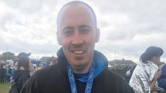 Bus driver Kevin Brown after completing last year's Great North Run