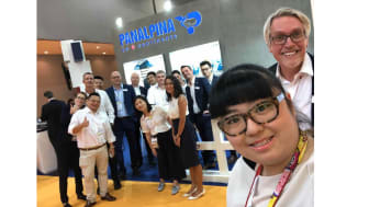 Bien Mak, Panalpina's marketing and communications responsible for Greater China, together with Colin Wells, global head of industry vertical perishables, and members of the Panalpina team at Asia Fruit Logistica. (Photo by Panalpina)