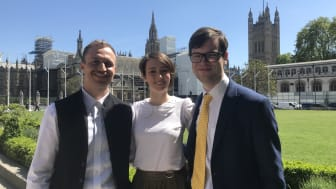 Silver Santé Study researchers (left to right), Marco Schlosser, Harriet Demnitz-King and Tim Whitfield, of University College London, who attended the Mindfulness APPG meeting on Ageing Well and Older People.