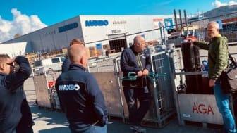 Gasslageret var på plass til åpningen av Maxbo Stormarked Lier som Linde-forhandler.