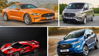 FORDS STJERNER: Her er noen av Fords stjerner på den internasjonale bilmessen i Frankfurt: Nye Ford Mustang, den nye lukuriøse ni-seteren Tourneo Custom, en spesialutgave av supersportsbilen Ford GT og nye Ford EcoSport.