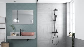 Silhouet in matt black gives the bathroom a new and fascinating look. The shower system is equipped with a number of modern features such as, for example, temperature limiter, rub clean and hand shower with three different settings, while simultaneou