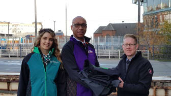 Staff from London Northwestern Railway and West Midlands Railway handing over old uniforms to Justin Frost from The Salvation Army Trading Company