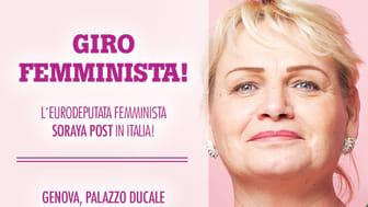 Soraya Post tar feministiskt homeparty till Italien