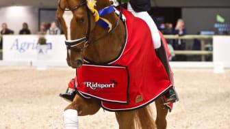Ida-Linn Lundholm med hästen Dragon Welt rider ärevarv. Foto: Haide Westring