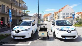 GotlandsHems fordonspool består av två elbilar, en elcykel och en lådcykel med elmotor.