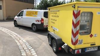 Energie schnell wiederherstellen: Mit Notstromaggregaten wie diesem hilft das Bayernwerk ab heute bei der Instandsetzung der Netzinfrastruktur in den Hochwassergebieten im Westen Deutschlands.