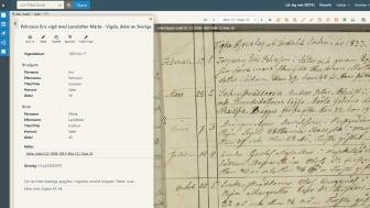Exempel på en sökning i vigselregistret, med registeruppgifter och originaldokument.