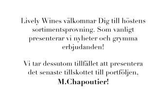 Lively Wines Sortimentsprovning